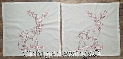 ANTIQUE c1900 Pair of DEER STAG Redwork Pillow Covers CABIN ADIRONDACK LODGE