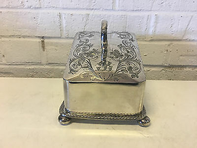 Vintage Possibly Antique Silver Plated Covered Butter or Cheese Dish