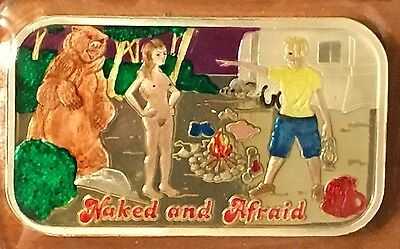 Naked And Afraid Rare Enameled 1oz .999 SILVER ART BAR CMG MINT only 75 MINTED