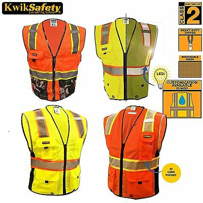 ANSI Class 2 Premium Heavy Duty Safety Vest Reflective Construction Orange/Lime
