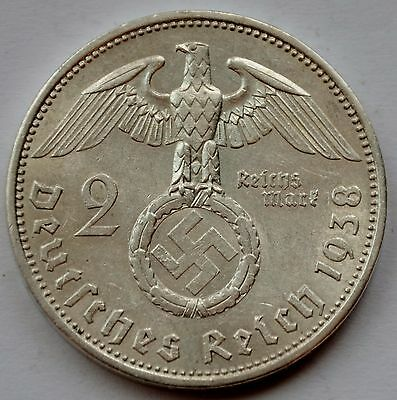 2 Mark 1938 A Third Reich Nazi Germany Silver coin