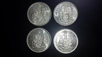 Canada 50 Cents Silver Coin Lot - Four Coins - 1962, 1963, 1965, 1966