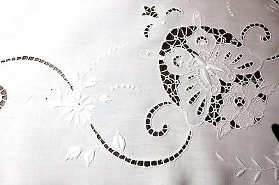 """Vintage WHITE LINEN CUTWORK TABLECLOTH - TABLE TOPPER - 38"""" Square - Gorgeous!"""