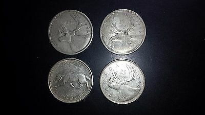 Canada 25 Cents Silver Coin Lot - Four Coins - 1956, 1958, 1967, 1968