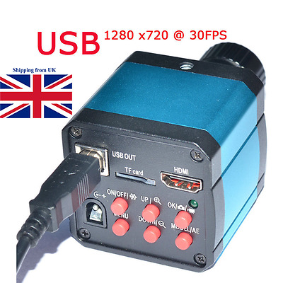 UK! 14MP TV USB Industry Digital C-mount Microscope Camera TF Video Recoder DVR