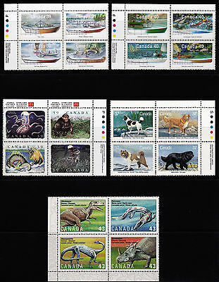 Canada Superb All Different Large Lot Of 4 Block Mnh Stamps & 4 Plate Blocks