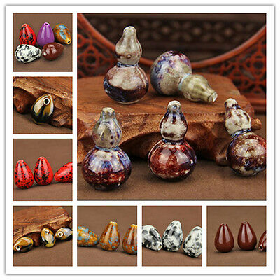 5Pcs Gourd Water Drop Charms Ceramic Porcelain Loose Spacer Beads DIY Findings