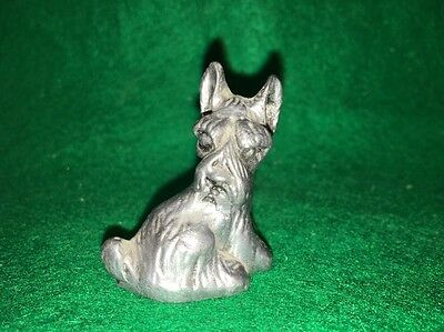 Vintage PEWTER METAL SCOTTIE TERRIER DOG Non-Magnetic USA Figurine Hand Crafted!