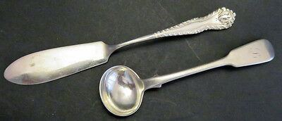 ANTIQUE ENGLISH STERLING SILVER SPOON AND BUTTER KNIFE 1848 and 1902 (2 TWO)