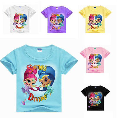 Shimmer and Shine T shirt Kids Girls Casual Cartoon T shirt Tops Clothes 2-10Yrs