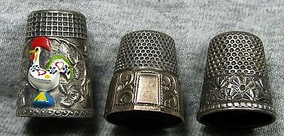 Antique Vintage Sterling Silver Lot of 3 Thimbles ---- Artfully Crafted Colored