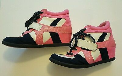 Justice Girls Pink Black High Top Glittery Wedge Sneakers Size 8 Shoes #B8