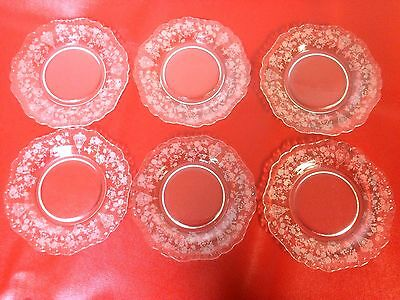 """Rare Cambridge Rose Point Rosepoint Set of 6 Bread Plate 6.3"""" #3"""