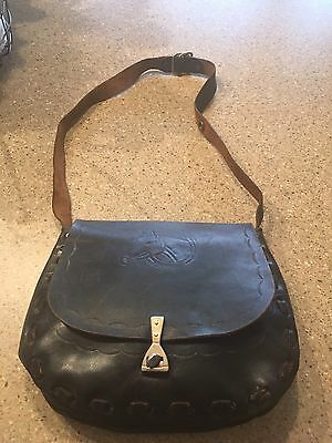 Leather Horse Head Hand Bag Satchel ( Vintage ) Stamped