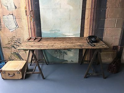 Vintage Industrial Trestle Dining Table / Side Table (Can Deliver )