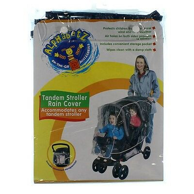 Tandem Stroller Rain Cover by Alphabetz Protects From Wind, Rain, Snow and Cold