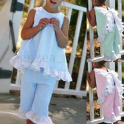 US STOCK Toddler Baby Kids Girls Outfit Summer Lace Top + Pants Clothes Set