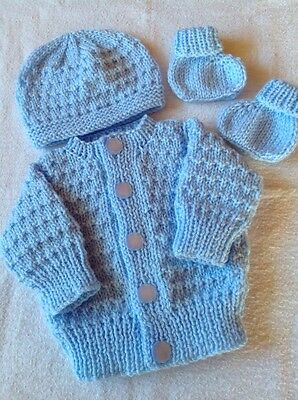Newborn / Reborn Baby. Hand  knitted cardigan, hat and bootees/socks. Blue.