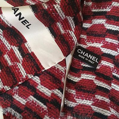 New Chanel Authentic Knitted Wool Weaving Multi Red Print 100% Silk Scarf