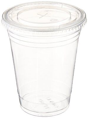 Table To Go 12 Oz 50 Piece Set Plastic Clear Cups with Flat Lids for Iced Coffee