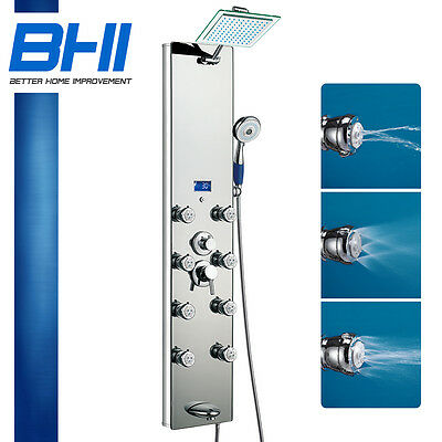 """51"""" Silver Tempered Style Massage Jet Rainfall Head Glass Shower Panel Tub Tower"""
