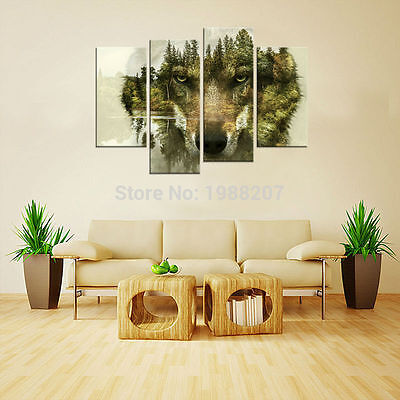 Abstract Wolf Painting Wall Art Picture Home Decoration Animal Printed On Canvas