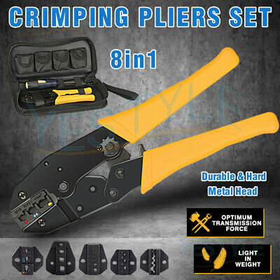 0.5-6mm² Cable Crimper Hand Tool Kit Wire Terminal Ratchet Plier Crimping Set