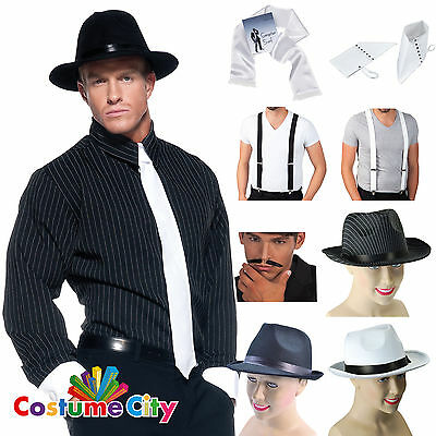 Adults Mens 1930s Mafia Gangster 30s Fancy Dress Costume Accessory 6PC Set Kit