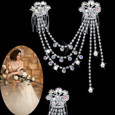 US Women Wedding Bride Crystal Rhinestone Hair Pins Tiara Claw Comb Headband