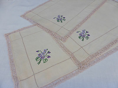 "3 Vintage Irish Linen Ecru Matching Placemats~Hand Embroidered Violets~19""/48cm"