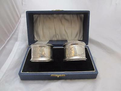 Boxed Pair Of Sterling Silver Napkin Rings Antique Birmingham 1912 MBN01578.
