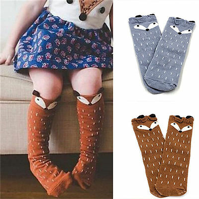 US STOCK Socks For Baby Girls Kids Toddler Fox Socks Cotton Knee High Hosiery