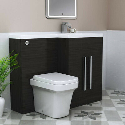 Grey RH Combination Bathroom Furniture Vanity Unit & Basin + Back To Wall Toilet
