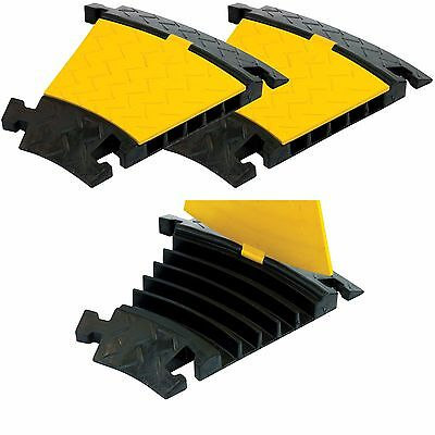 2x 5 Channel 30DEG 1m Rubber Cable Guard Bridge Protector Load Event Safety Ramp
