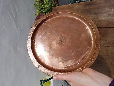 Antique copper metal ornamental dish, wall hanging , old,11 inch....