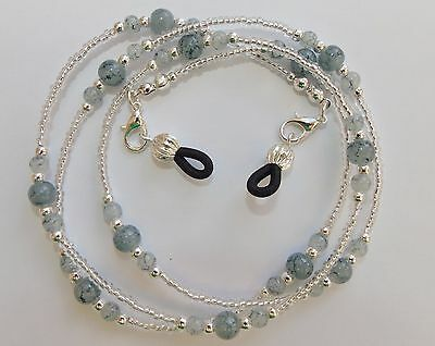 Handmade Grey Beaded Spectacle / Glasses Chain / Necklace.