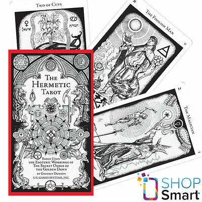 Hermetic Tarot Deck Cards Esoteric Telling White Black Us Games Systems