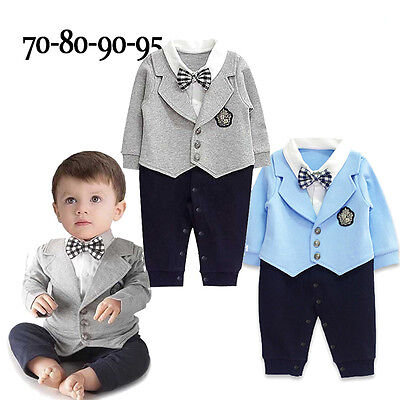 ae59a33ec1ac4 US Infant Baby Boy Party Gentleman Clothes Romper Jumpsuit Bodysuit Outfit  Suits