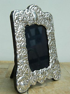 """A Ornate Hallmarked Solid Silver Photo Picture Frame Birmingham 2004 6"""" X 4.75"""""""