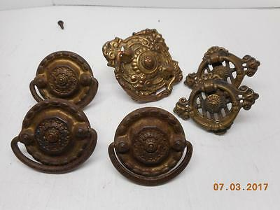 Vintage treadle sewing machine DRAWER BRASS HANDLES LOT