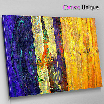 AB1084 Yellow blue green stripe XL Abstract Canvas Wall Art Framed Picture Print