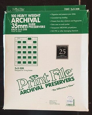 Print File 35mm Slide Preservers (2x2-20B) Opened Pack Contains 63 Pages