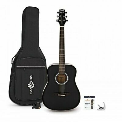3/4 Size Electro Acoustic Travel Guitar Pack by Gear4music Black