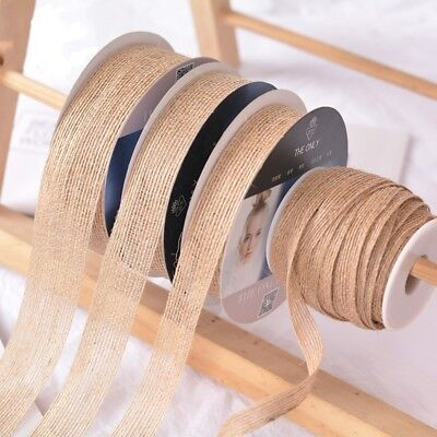 5M/10M Natural Jute Hessian Burlap Ribbon Rustic Wedding Floristry Decor 15-38mm