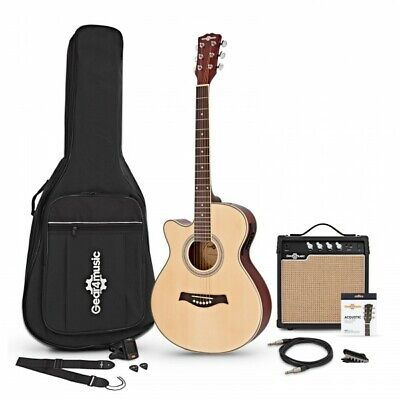 Single Cutaway Left Handed Electro Acoustic Guitar + 15W Amp Pack