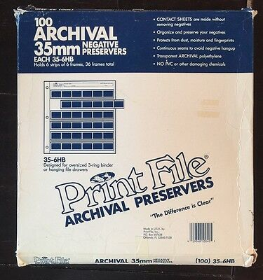 Print File 35mm Negative Preservers (35-6HB) Opened Pack Contains 97 Pages