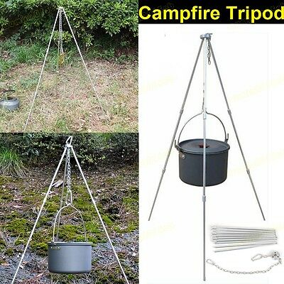 Campfire Cooking Pot Tripod Stand Grill Portable Hanging Outdoor Picnic Camping