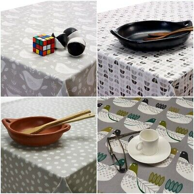 Grey PVC, Oilcloth Tablecloth Wipe Clean, Polka, Spots, Round, Square Rectangle
