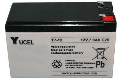Yuasa Yucell Y7-12, 12 Volt 7Ah Rechargeable Alarm/ Security Battery,