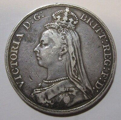 1889 - Great Britain - One Crown Genuine Silver Coin